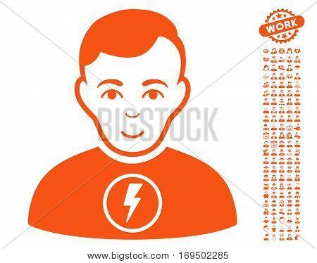 Power Man pictograph with bonus avatar clip art. Vector illustration style is flat iconic orange symbols on white background.