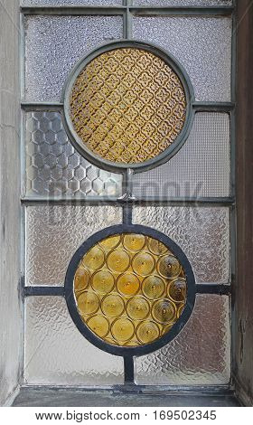 Two Yellow Vitrage Decorative Ornament Round Windows