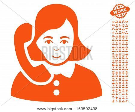 Receptionist pictograph with bonus occupation symbols. Vector illustration style is flat iconic orange symbols on white background.