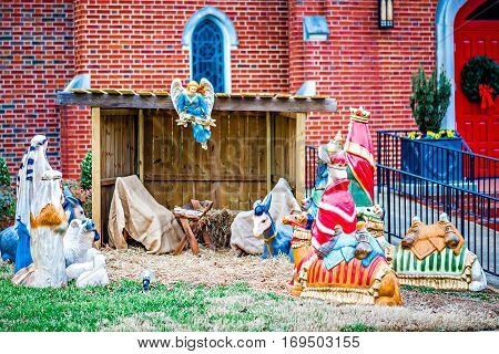 a nativity set in front of church