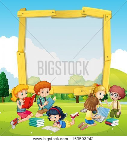 Border template with kids reading illustration