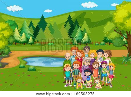 Family members in the park illustration