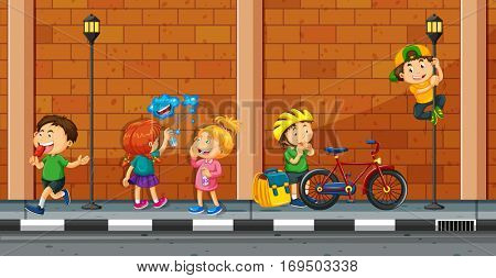 Many kids doing different activities on the street illustration