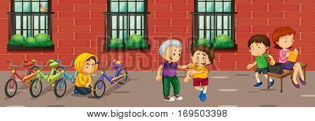 Scene with kids doing different crimes illustration