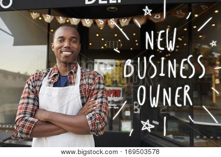 Black male new business owner standing outside coffee shop