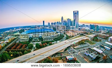 an early morning sunrise over charlotte nc