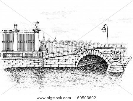 Laundry bridge on Fontanka embankment, St. Petersburg. One of the first stone bridge built in city. Original scan drawings by hand image. Nearby was the famous laundry, so the bridge is so named