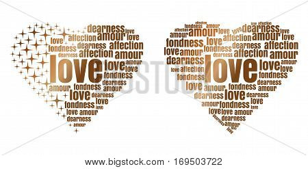Golden heart made up of words and stars. Love, amour, fondness, affection, dearness. Design elements for Valentine's Day. Vector illustration