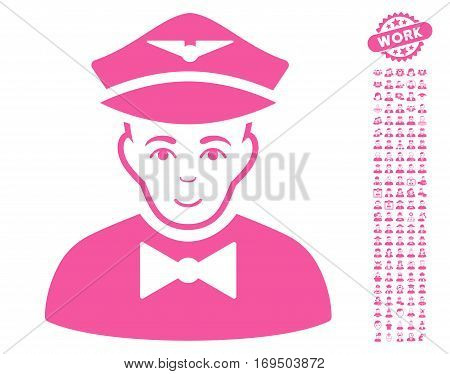 Airline Steward pictograph with bonus avatar clip art. Vector illustration style is flat iconic pink symbols on white background.