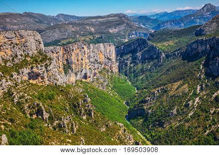 The mountain canyon in Europe in the spring. Canyon of Verdon, Provence, France