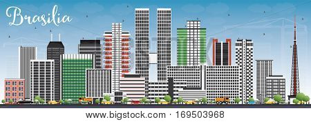 Brasilia Skyline with Gray Buildings and Blue Sky. Vector Illustration. Business Travel and Tourism Concept with Modern Architecture. Image for Presentation Banner Placard and Web Site.