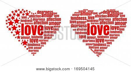 Red heart made up of words and stars. Love, amour, fondness, affection, dearness. Design elements for Valentine's Day and other romantic events. Vector illustration
