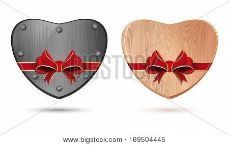 Metal, iron heart and wooden heart. Heart tied with ribbon for Valentine's Day. Set icons of hearts isolated on white background. Vector illustration