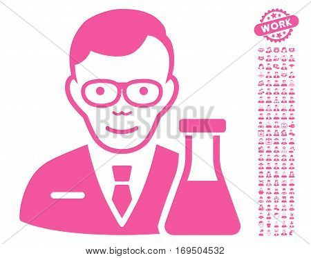 Chemist icon with bonus human pictograms. Vector illustration style is flat iconic pink symbols on white background.