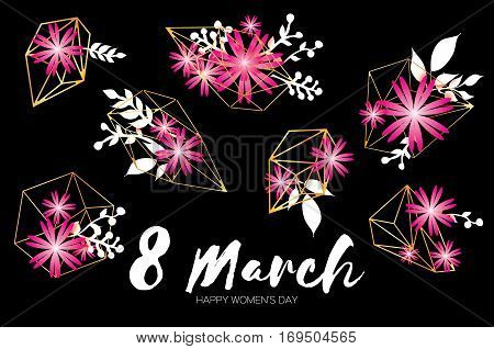 8 March with Geometric Cristal. Happy Mother's Day. Paper Cut Floral Greeting card. Origami flower holiday background. Happy Women's Day. Trendy Design Template. Vector illustration