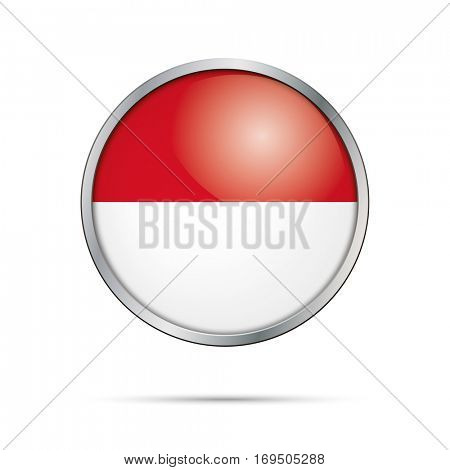 Vector Monegasque or Indonesian flag Button. Monaco or Indonesia flag in glass button style with metal frame.