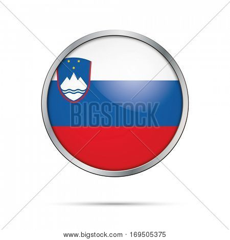 Vector Slovenian flag Button. Slovenia flag glass button style with metal frame.