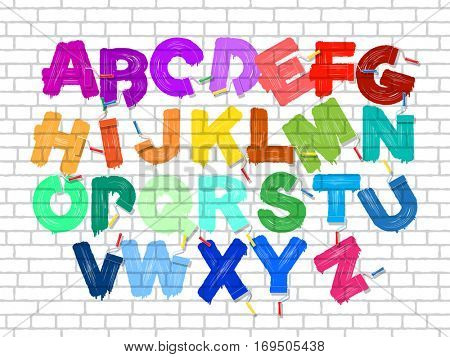 Color roller brush graffiti alphabet on the old brick wall background. Vector font set