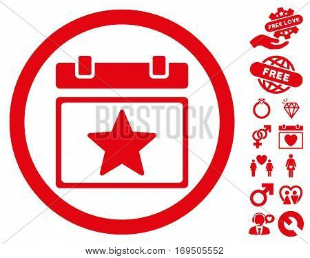 Favourites Day icon with bonus dating pictures. Vector illustration style is flat rounded iconic red symbols on white background.