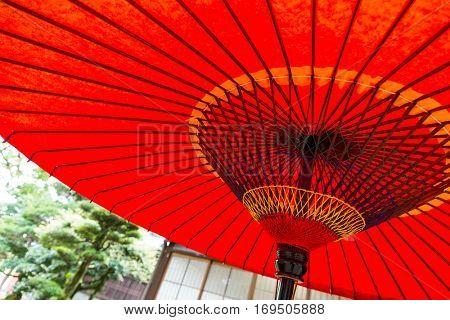 Japanese paper red umbrella