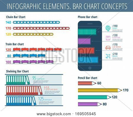 Infographic elements. Bar chart set. Infographic vector flat line design template icons symbols. Business and office infographic school and education infographic phone and industry infographic.