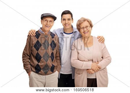 Young guy with an elderly man and an elderly woman isolated on white background