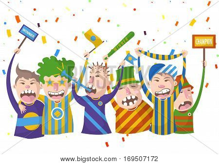 Cheering fans with flags and whistles holding flag we are champions for football or sport game contest championship. Vector illustration of people happy and celebrating team victory