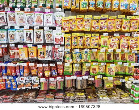 CHIANG RAI THAILAND - FEBRUARY 6: various brand of food pet in packaging for sale on supermarket stand or shelf on February 6 2017 in Chiang rai Thailand.