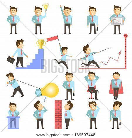 Businessman or manager in work situations. Vector illustration of man boss achieve for success or goal, earn money and overcome obstacles. Business growth tasks and positive emotions idea