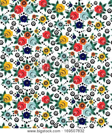 Beautiful floral seamless pattern in Slavic style. Vector.