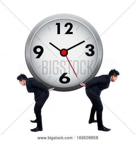 Asian businessman carrying a clock on white