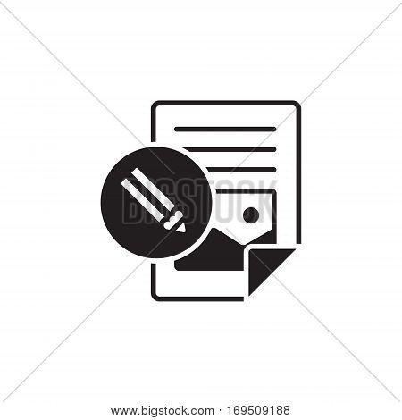 Vector icon or illustration showing web site content with with text file and pencil in one balck color