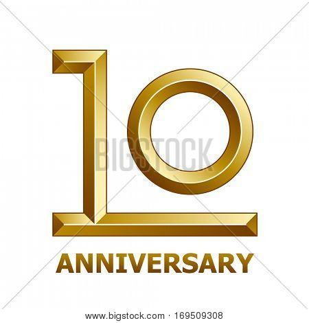 10 years golden anniversary symbol vector