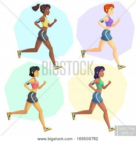 Set Of Multinational Beautiful Young Girls Jogging Irunning, Woman With Different Skin Color Tone Ca
