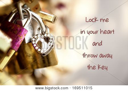 Love padlocks on a Paris bridge with the text Lock me in your heart and throw away the key. Valentine and love concept.