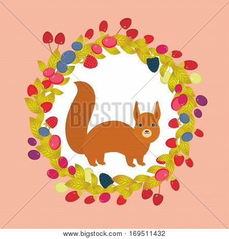 Round wreath with red squirrel Cherry Strawberry Raspberry Blueberry Cranberry Cowberry Goji Grape on pink background. Vector illustration
