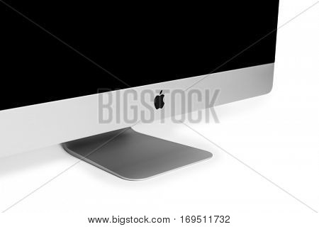 UKRAINE, RIVNE, December 2, 2016. Apple Computer iMac 27 retina display 5K keyboard and magic mouse isolated on a white background