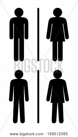 Restroom Signs. Vector Illustration Of Two Different Style Restroom Signs.
