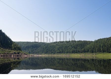 Big river of Eastern Siberia. Many water and many sky. Krasnoyarsk region.