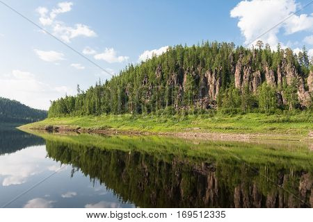 Beautiful Siberian rivers: Tunguska. Fantastical cliffs.Krasnoyarsk territory.