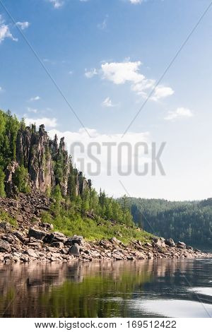 Beautiful big river of Krasnoyarsk territory. Siberia, Russia