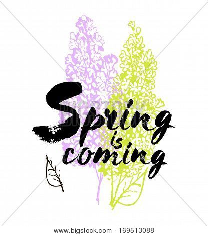 Spring is coming vector lettering on a lilac background branches illustration. Hand drawn phrase. Handwritten modern brush calligraphy for invitation and greeting card t-shirt prints and posters. Elements for your design. White background.
