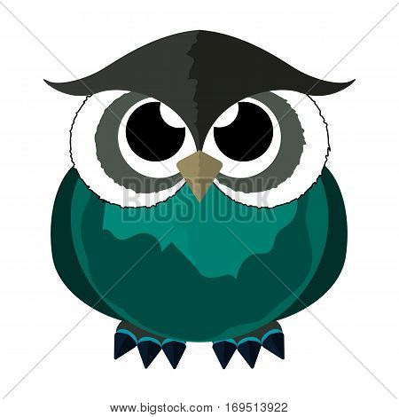 Owl on a white background. Vector bird. Art. The baby owl is cute. Icon. Isolated object of an animal in a cartoon style. Design. Color sketch. Predator Abstract.