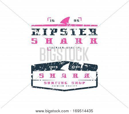 Shark Fin Emblems. Graphic Design For T-shirt