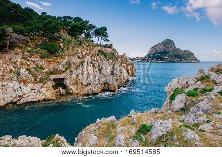 Gulf between rocks, majestic landscape in Italy