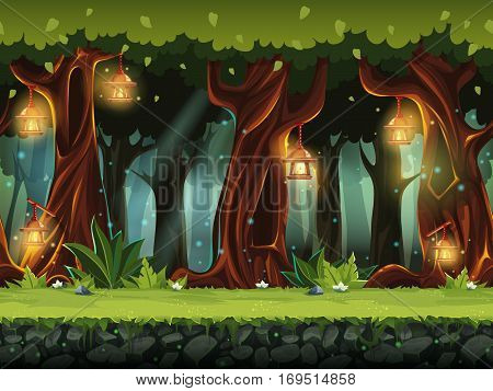Vector cartoon illustration of the fairy forest for the game UI. For print create videos or web graphic design user interface card poster.
