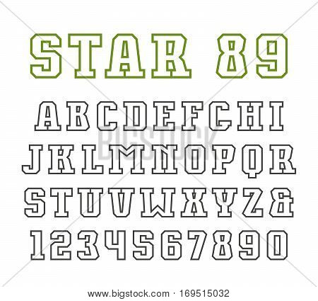 Slab serif contour font in sport style. Isolated on white background
