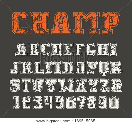 Slab serif font and numerals with contour. Print on black background
