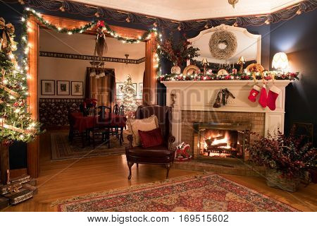 Victorian Christmas Setting with Fireplace