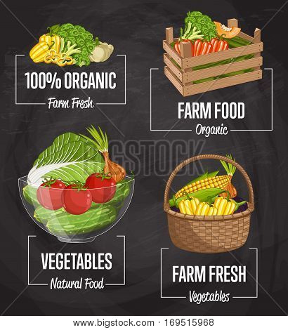 Organic farm food set vector illustration. Natural vegetable, organic farming, vegan food store, retail farm product label. Healthy farm advertising with tomato, onion, cucumber, cabbage, eggplant